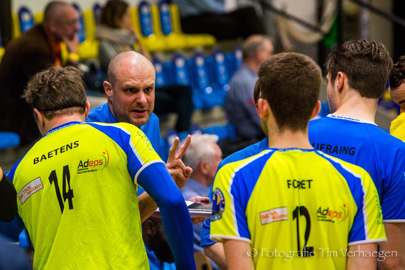 20180704: Guibertin coach Filip Van der Bracht tijdens de EuroMillions Volley League wedstrijd tegen Haasrode.